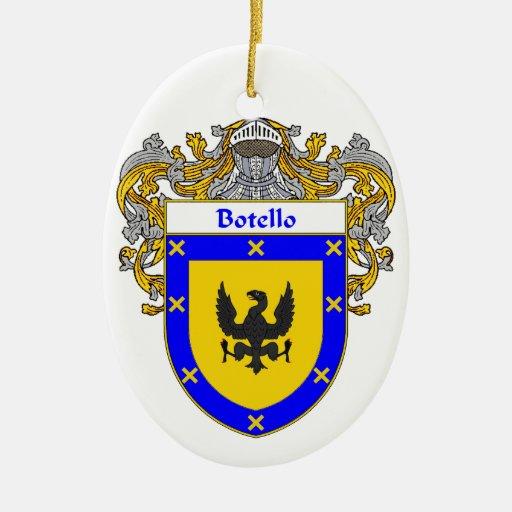 Escudo de armas de Botello/escudo de la familia Adorno Navideño Ovalado De Cerámica