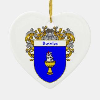 Escudo de armas de Bowles/escudo de la familia Adorno De Cerámica En Forma De Corazón