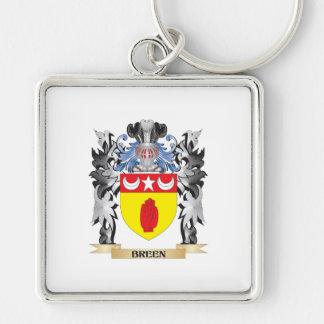 Escudo de armas de Breen - escudo de la familia Llavero Cuadrado Plateado
