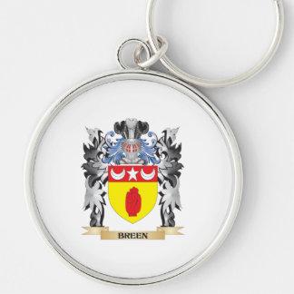 Escudo de armas de Breen - escudo de la familia Llavero Redondo Plateado