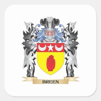 Escudo de armas de Breen - escudo de la familia Pegatina Cuadrada