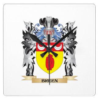Escudo de armas de Breen - escudo de la familia Reloj Cuadrado