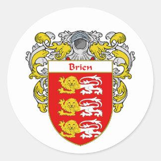 Escudo de armas de Brien (cubierto) Pegatina Redonda