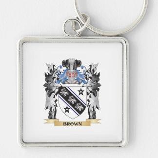 Escudo de armas de Brown - escudo de la familia Llavero Cuadrado Plateado
