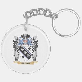 Escudo de armas de Brown - escudo de la familia Llavero Redondo Acrílico A Doble Cara
