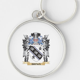 Escudo de armas de Brown - escudo de la familia Llavero Redondo Plateado