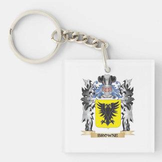 Escudo de armas de Browne - escudo de la familia Llavero Cuadrado Acrílico A Una Cara