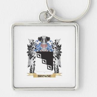 Escudo de armas de Browne - escudo de la familia Llavero Cuadrado Plateado