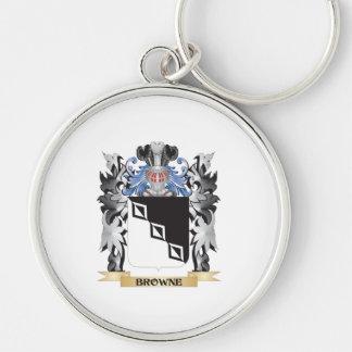 Escudo de armas de Browne - escudo de la familia Llavero Redondo Plateado