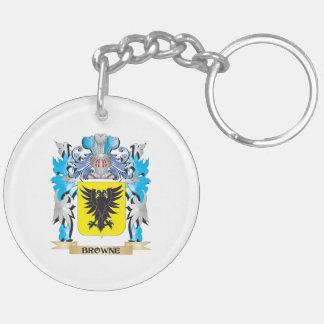 Escudo de armas de Browne Llavero Redondo Acrílico A Doble Cara