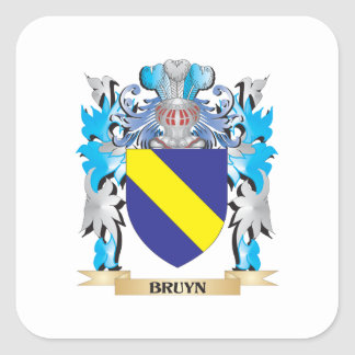 Escudo de armas de Bruyn Colcomanias Cuadradas Personalizadas
