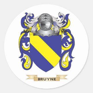 Escudo de armas de Bruyne (escudo de la familia) Etiqueta Redonda
