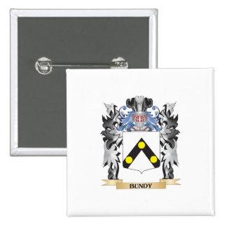 Escudo de armas de Bundy - escudo de la familia Pin Cuadrada 5 Cm