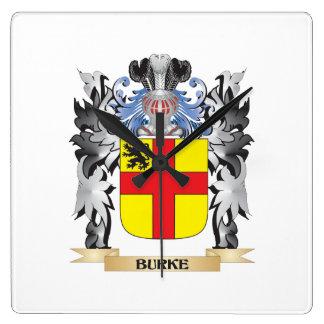 Escudo de armas de Burke - escudo de la familia Reloj Cuadrado