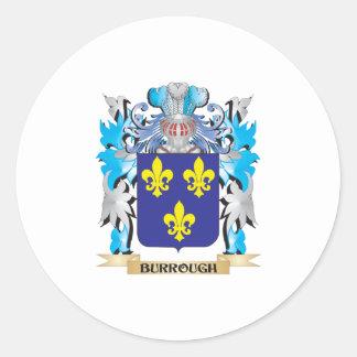 Escudo de armas de Burrough Pegatina Redonda