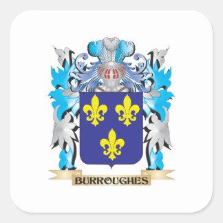 Escudo de armas de Burroughes Calcomanía Cuadradas