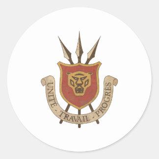 Escudo de armas de Burundi del vintage Pegatina Redonda
