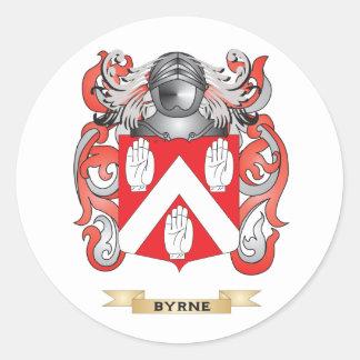 Escudo de armas de Byrne (escudo de la familia) Pegatina Redonda