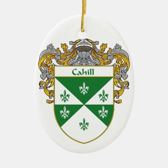 Escudo de armas de Cahill/escudo de la familia Adorno Navideño Ovalado De Cerámica