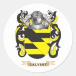 Escudo de armas de Calvert (escudo de la familia) Etiquetas Redondas