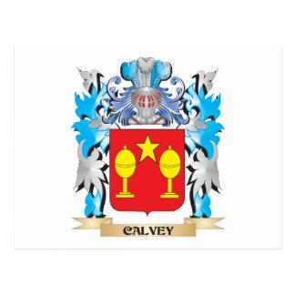 Escudo de armas de Calvey - escudo de la familia Tarjeta Postal