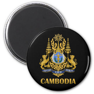 Escudo de armas de Camboya Imán Redondo 5 Cm