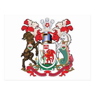 Escudo de armas de Cardiff Tarjeta Postal