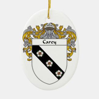 Escudo de armas de Carey/escudo de la familia Adorno Navideño Ovalado De Cerámica