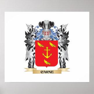 Escudo de armas de Carne - escudo de la familia Póster