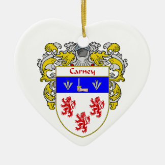 Escudo de armas de Carney/escudo de la familia Adorno De Cerámica En Forma De Corazón