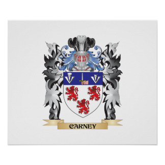 Escudo de armas de Carney - escudo de la familia Póster