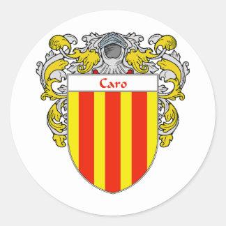 Escudo de armas de Caro (cubierto) Pegatina Redonda