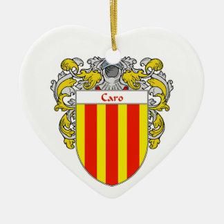 Escudo de armas de Caro/escudo de la familia Adorno Navideño De Cerámica En Forma De Corazón