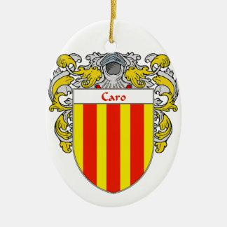 Escudo de armas de Caro/escudo de la familia Adorno Navideño Ovalado De Cerámica