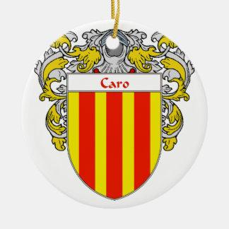 Escudo de armas de Caro/escudo de la familia Adorno Navideño Redondo De Cerámica