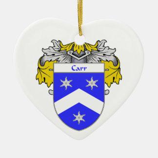 Escudo de armas de Carr/escudo de la familia Adorno Navideño De Cerámica En Forma De Corazón