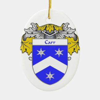 Escudo de armas de Carr/escudo de la familia Adorno Navideño Ovalado De Cerámica