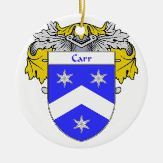 Escudo de armas de Carr/escudo de la familia Adorno Navideño Redondo De Cerámica