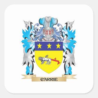 Escudo de armas de Carrie - escudo de la familia Calcomanía Cuadradas Personalizadas