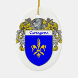 Escudo de armas de Cartagena/escudo de la familia Adorno Navideño Ovalado De Cerámica