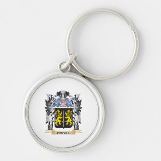 Escudo de armas de Carvill - escudo de la familia Llavero Redondo Plateado
