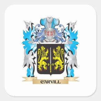 Escudo de armas de Carvill - escudo de la familia Calcomania Cuadradas Personalizadas