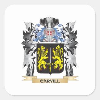 Escudo de armas de Carvill - escudo de la familia Pegatina Cuadrada