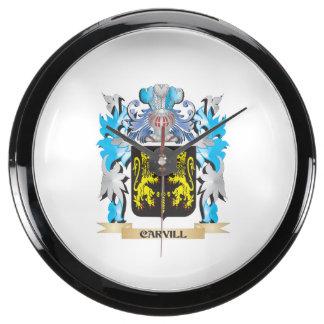 Escudo de armas de Carvill - escudo de la familia Reloj Acuario