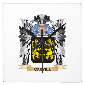 Escudo de armas de Carvill - escudo de la familia Reloj Cuadrado