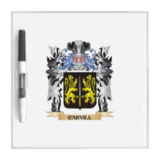 Escudo de armas de Carvill - escudo de la familia Tablero Blanco