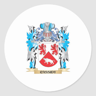 Escudo de armas de Cassidy - escudo de la familia Etiquetas Redondas