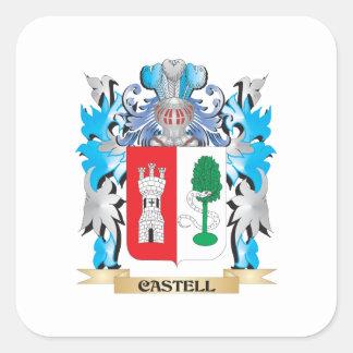 Escudo de armas de Castell - escudo de la familia Calcomanía Cuadrada Personalizada