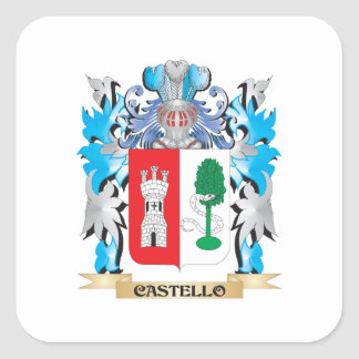 Escudo de armas de Castello - escudo de la familia Calcomanía Cuadradas Personalizada