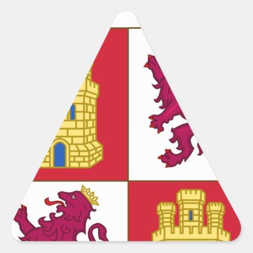 Escudo de armas de Castilla y León (España) Calcomanía De Triangulo